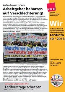"""Tarifinfo """"Wir im Einzelhandel Nr. 10 - 2013"""""""