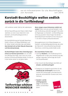 Karstadt-Info vom 08.07.2016