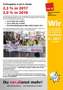 WIR im Einzelhandel und Versandhandel BaWü (Tarifinfo 08/2017)