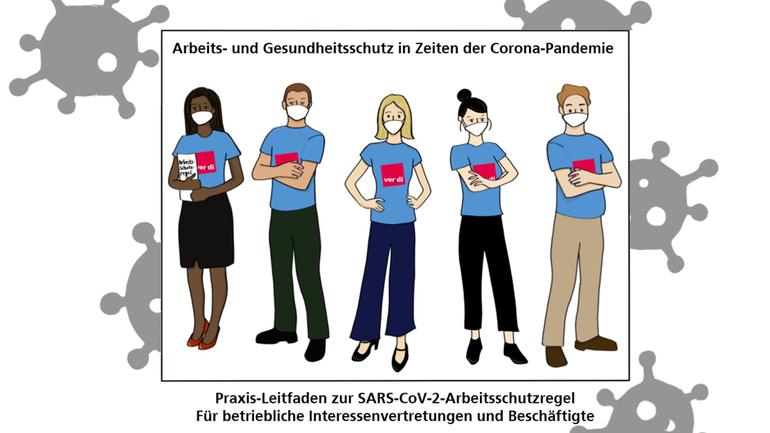 mehrere Menschen mit Mund-Nasen-Schutz und ver.di-Logo auf ihrer Brust, umrahmt von Viren